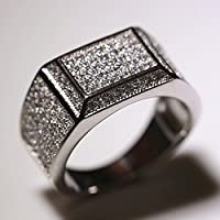 A.Yupha 18K White Gold Iced Out BAND HipHop Engagement MICROPAVE AAA CZ Pinky Mens Ring (9)
