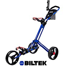 Biltek Biltek Premium 3-Wheel Golf Push Cart Trolley Blue Umbrella Scorecard Holder