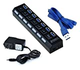 7 Port High Speed USB 3.0 Hub with 2ft Blue USB Cord (Small Image)