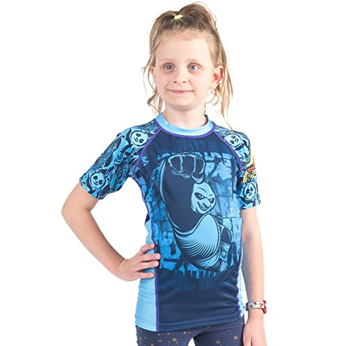 Fusion Fight Gear Kung Fu Panda Dragon Warrior Kids Rash Guard Compression Shirt - Blue Short Sleeve (M)