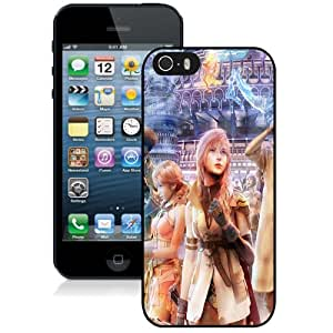 Fashionable And Unique Designed Cover Case For iPhone 5 5S With Final Fantasy Girl_Black Phone Case
