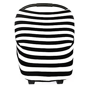 """Baby Car Seat Cover Canopy and Nursing Cover Multi-Use Stretchy 5 in 1 Gift """"The Classic"""" by Copper Pearl"""