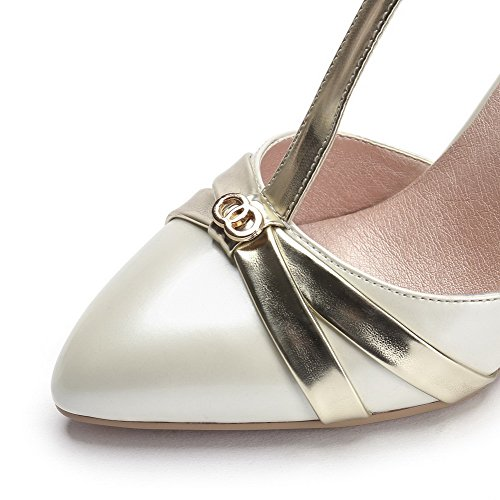 AllhqFashion Toe Womens Material Soft Buckle Spikes Stilettos Color Closed White Assorted Sandals TqTHSwr