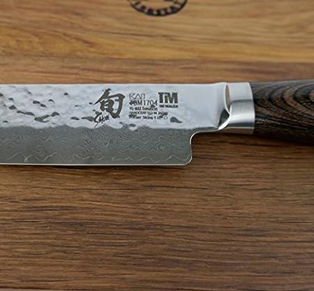 Kai Shun Premier Tim Mälzer TDM-1704 - Cuchillo japonés, cuchillo jamonero de acero de damasco y tabla de cortar de madera maciza de fachada de 25 x 15 cm