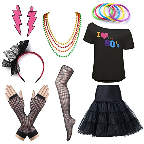 Womens I Love The 80's T-Shirt 80s Outfit Accessories (Medium, Black) ()
