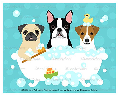 (553D - Three Dogs (Pug, Boston Terrier and Jack Russell) in Bubble Bath Bathtub UNFRAMED Wall Art Print by Lee ArtHaus)