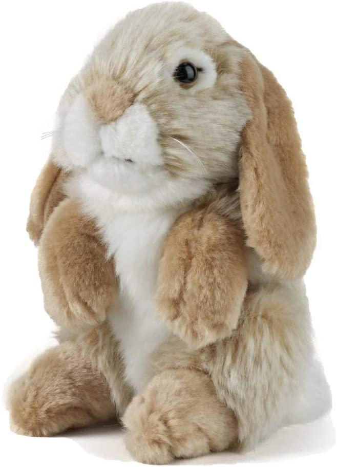 "Living Nature Soft Toy Plush Pet Sitting 7"" Lop Eared Rabbit, Brown"