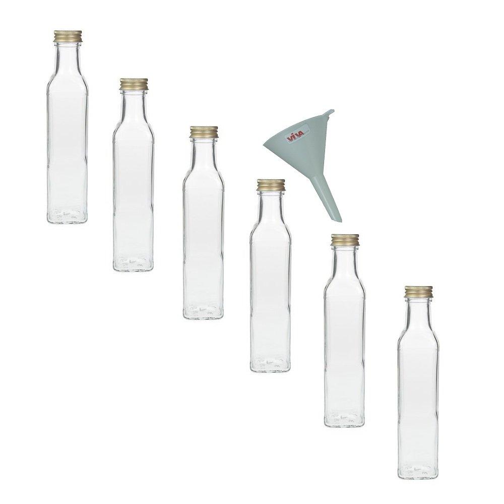 Viva Haushaltswaren - Juego de botellas de cristal (con tapón de rosca, 6 unidades, 250 ml, rellenables, incluye embudo de 7 cm) #14851