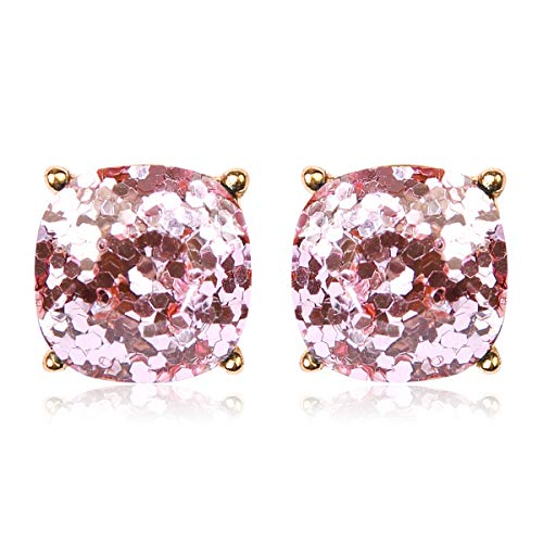 Opalescent Animal Leopard Print Faceted Jewel Statement Stud Earrings Square Cushion Cut Sparkly Sequin Confetti Glitter