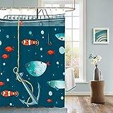 Fish Shower Curtain ThinkBigHome: Fabric Shower Bathroom Curtain Fish Kids - Waterproof Anti-Mildew - Great Gift - Decor - Make Bathroom Unique