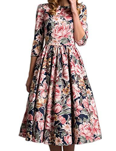 Simple Flavor Womens 3/4 Sleeve Floral Vintage Dress Winter Elegant A-Line