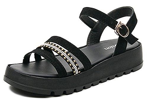 Femme Sandales 5cm Chaussures avec Aisun Boucle Mode 3 Compensée Noir A4wqOd
