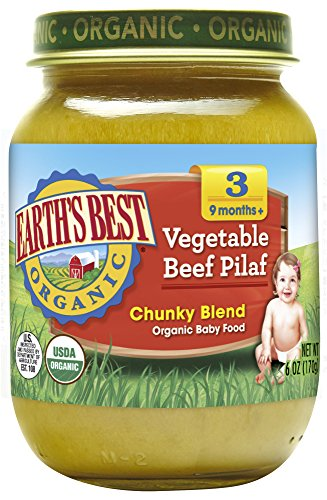 - Earth's Best Organic Stage 3 Baby Food, Vegetable Beef Pilaf, 6 oz. Jar (Pack of 12)
