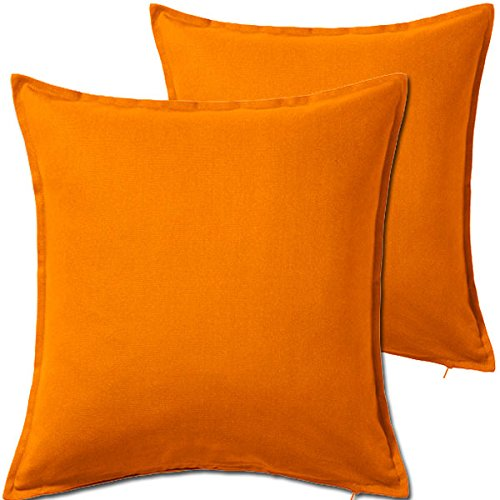 2 Pack Solid Orange Decorative Throw Cushion Pillow Cover Cushion Sleeve for 20x 20 Insert , 100 Percent Cotton