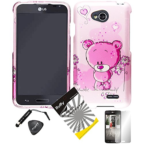 4 items Combo: ITUFFY (TM) LCD Screen Protector Film + Mini Stylus Pen + Case Opener + Lovely Pink Bear Flower Heart Design Rubberized Snap on Hard Shell Cover Faceplate Skin Phone Case for Prepaid Android Smartphone LG Optimus L70 MS323 Metro PCS / LG Optimus Exceed 2 VS450PP Verizon / LG Realm (Boost Mobile) LS620 / LG L70 Cricket (Pink Bear) - Hearts Design Faceplate