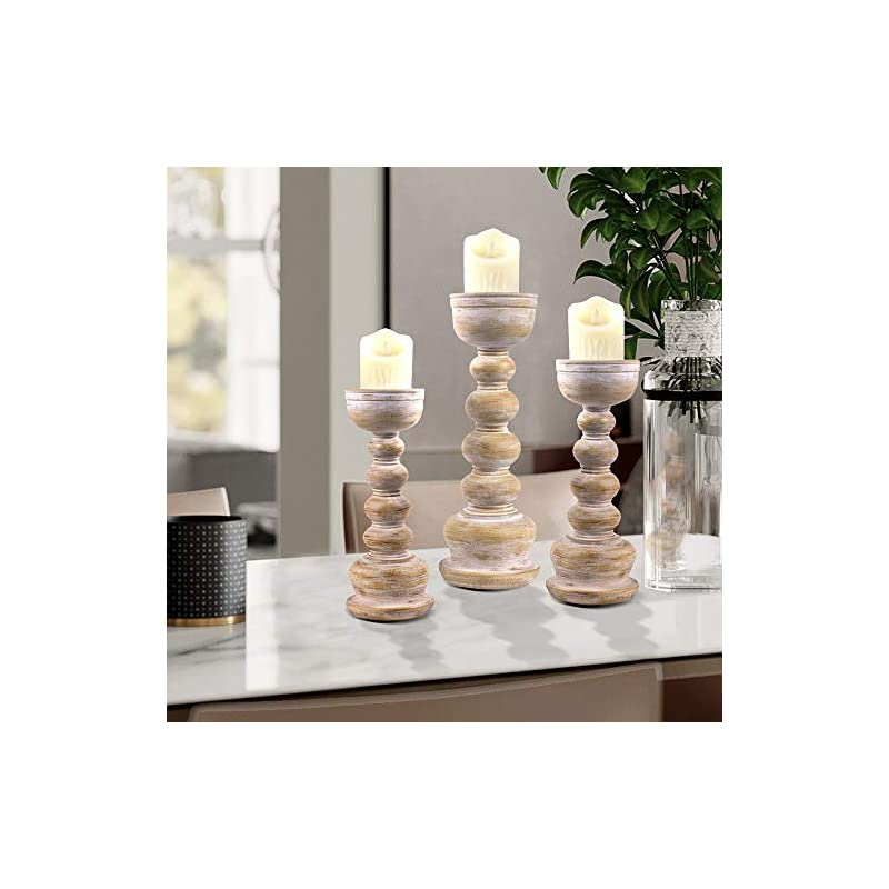 Gmart Antique Wash Wook Look Finish Resin Pillar Candle Holders Set of 3, Decorative for Home Accents,Ideal for LED and…