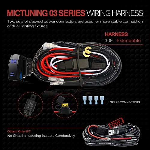 exposed wiring harness wiring diagram automotiveamazon com mictuning led light bar wiring harness fuse 40amp relay
