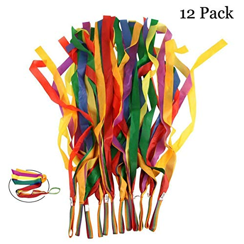Rainbow Dance Ribbons, LANREN 12PCS Rhythm Ribbon Streamers for Baby Kids Children Adults - Bright & Multi-colored -