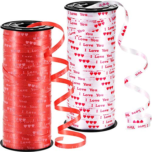 (Chengu 2 Pieces Valentine Curling Ribbon Heart Printed Ribbon Love Balloon Curling Ribbon for Gift Wrapping Party Supplies (Red, White))