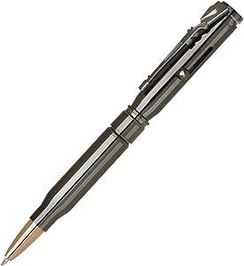 Brass Bullet Shaped Ballpoint Pen with Rifle Design Clip, Gun Metal