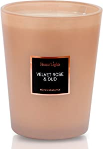 HomeLights Scented Candles   Large Jar Candle - 33.3 Oz. Natural Soy Aromatherapy Candles   60+ Hour Burn Time with 3 Cotton Wicks, Home Decorative Fragrance Candles Gift - Velvet Rose Oud