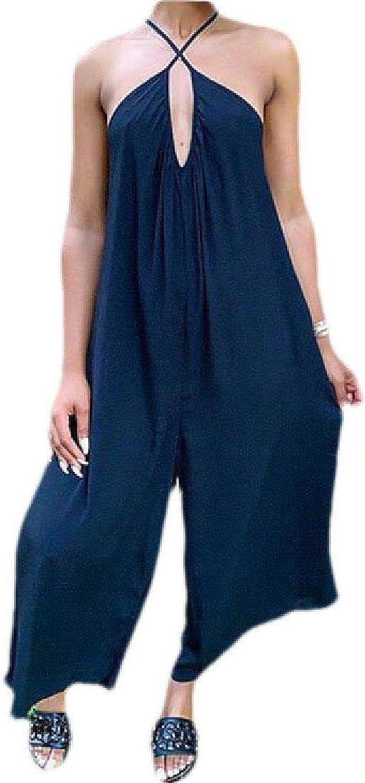 Zantt Womens Wide Leg Casual Spaghetti Strap Long Pants Jumpsuit Romper
