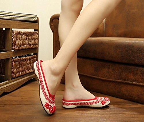 &QQ Porcelana azul y blanca Zapatos bordados, lencería, estilo étnico, flip flop femenino, moda, cómodo, sandalias Red