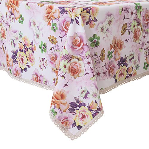 Decorative Red Floral Print Lace Water Resistant Tablecloth Wrinkle Free and Stain Resistant Fabric Tablecloths for Kitchen Room (White Red Floral, 60