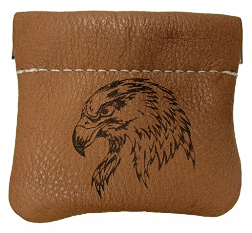 1/4 Eagles (North Star Men's Leather Squeeze Coin Pouch Change Holder (3.25 X 3 X 0.25 Inches, Eagle Head Tan))
