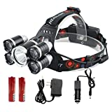 2017 new Waterproof zoomable Headlamp, 5 Led Bulbs , flashlight, headlamp, rechargeable battery li-ion 8000 lumen CREE T6+4XPE 4 mode, Best for Camping, Biking, Hunting, Fishing, mining.