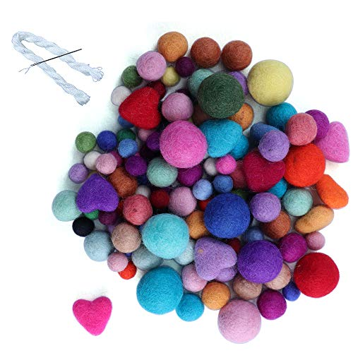 120 Pcs Multisize Wool Felt Balls for Christmas Decor Large Felt Ball DIY Mixed Color Wool Pom Poms Wool Beads for Crafts Decorations