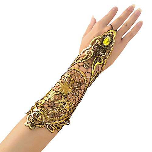 Beelittle 1 Piece Vintage 1920s Classical Retro Lace Fingerless Long Gloves Hollow-Out Chain Bracelet for Halloween Fancy Dress (Gold Gloves-Only 1PC-Need Order 2 If Need 1 Pair) -