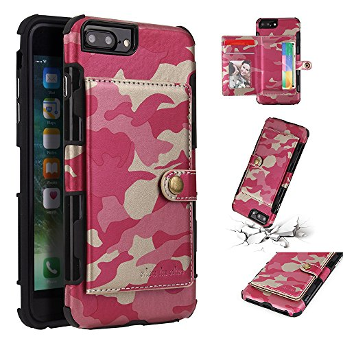 (iPhone 8 Plus Case, iPhone 7 Plus Case, Ranyi Camouflage Wallet Hard Cover [4 Card Holder] Shock Absorbing Premium PU Leather Full Body Protective Rugged Case for iPhone 8 Plus / 7 Plus (Pink))