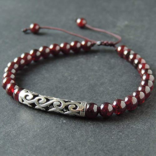 Handmade Jewelry Garnet Gemstones Adjustable Braided Bracelet Women