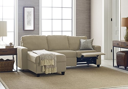 Serta Palisades Reclining Sectional with Left Storage Chaise - Dusk Beige (Brown Reclining Sectional)