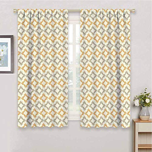Geometric Room Darkening Blackout Drapes Abstract Nature with Flowers Forms Squares Geometric Soft Elements Blackout Curtains for Bedroom W72 x L97 Inch Marigold Cream Sage Green