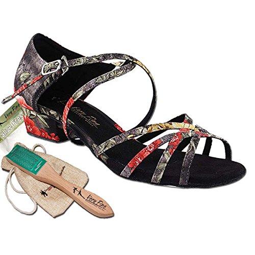 Bundle - 5 Items: Very Fine Women's Ballroom Salsa Practice Dance Shoes 1606FT Brush Pouch Sachet Bag, Black Flower 8.5 M US Heel 1 Inch