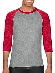 Anvil Adult Tri-Blend 3/4-Sleeve Raglan T-Shirt, HthrGry/Hthr Red, X-Large