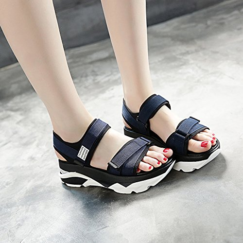 Xing Lin Leather Sandals Sandals Women Summer New Thick Casual Shoes Sponge Cake Platform With Velcro In Fashion Sandals Dark blue 3Ni2VbbJG