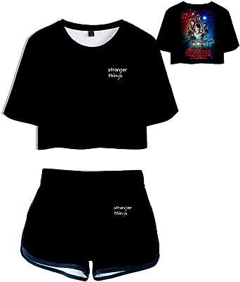 Camiseta y Pantalón Corto Stranger Things 3, Conjunto Mujer Top y Pantalones Cortos Camiseta de Manga Corta Niña Verano Adolescente Stranger Things Impresión Conjunto Deportivo: Amazon.es: Ropa y accesorios