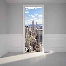 """ChezMax 3D Door Mural Art Sticker Removable Self Adhesive Wall Decal for Home Decoration New York Manhattan Pattern 30.3"""" w x 78.7"""" h"""