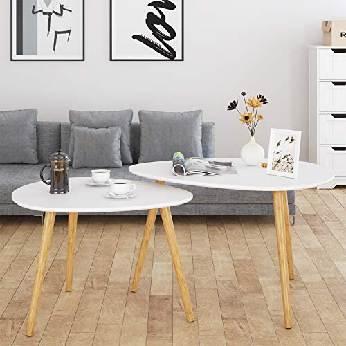 HOMFA Large Nesting Coffee Tables for Living Room, Drop Shape End Side Tables Sofa Console Tables Modern Decor Furniture for Home Office (White, Set of 2) (Stools Coffee Table With Nesting)
