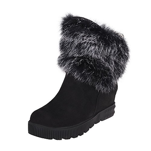 WeenFashion Women's Kitten-Heels Fabric Surface Low-Top Pull On Solid Boots