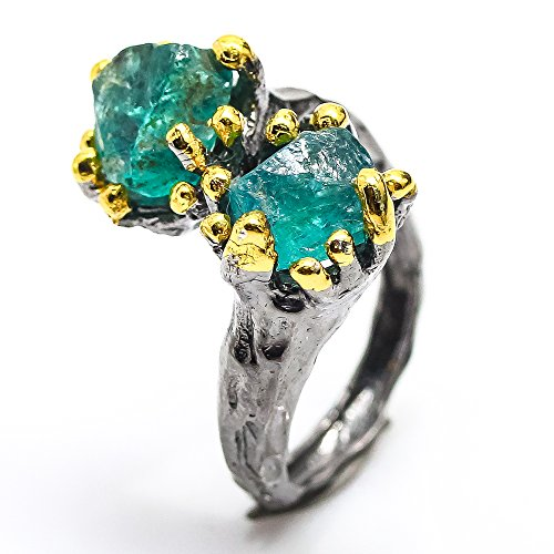 - Handmade Fine Art Jewelry Natural Apatite Size 8 us Sterling Silver 925