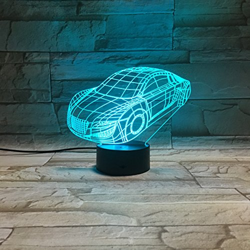 LE3D 3D Optical Illusion Desk Lamp/3D Optical Illusion Night Light, 7 Color LED 3D Lamp, Sports Car 3D LED For Kids and Adults, Racing Car Light Up Harley Davidson Desk Lamp