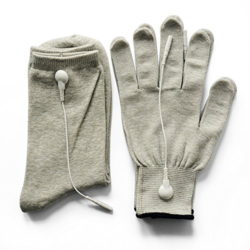 Pair of Conductive Fiber Electrode Gloves With Conductive Massage Socks With Adapter Electrode Lead Wires for TENS/EMS Machine