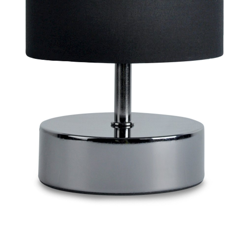 Incroyable Modern Black Chrome Touch Dimmer Bedside Table Lamp With Polycotton Black  Light Shade: Amazon.co.uk: Lighting
