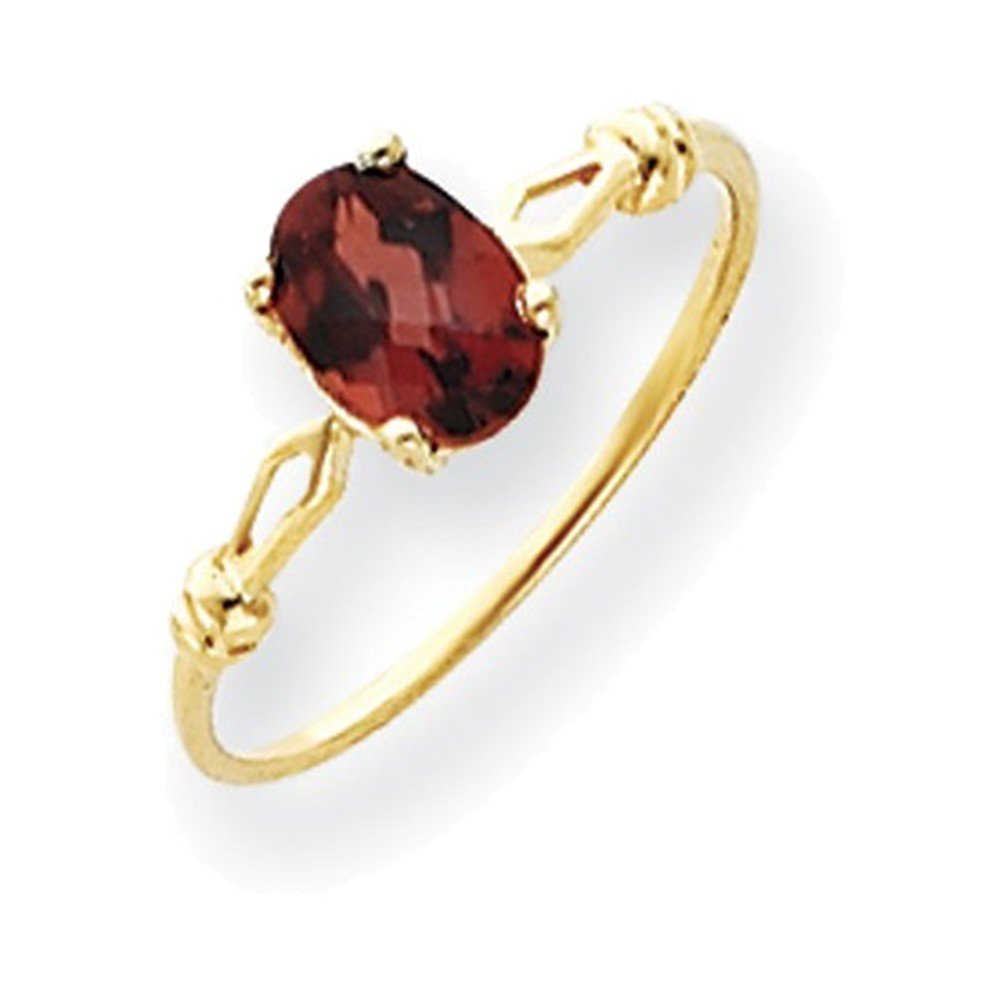 Jewelry Adviser Rings 14k 7x5mm Oval Garnet Checker ring