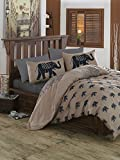LaModaHome 2 Pcs Bedroom Bedding Soft Colored 100% Cotton Ranforce Twin and Single Bedroom Bedding Quilt Duvet Cover Set Elephant Animal Wildlife Africa Safari Brown Background