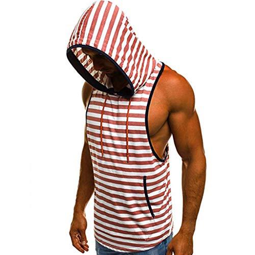 Permen Undershirt for Men, Fashion Summer Hooded Drawstring Sleeveless Stripe Tank Tops Vest with Pocket Red